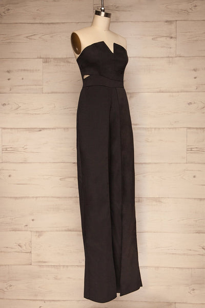 Vetlanda Black Strapless Slit Jumpsuit side view | La petite garçonne