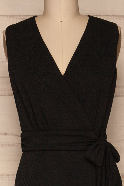 Viatrix Black Jumpsuit | Combinaison | La Petite Garçonne front close-up