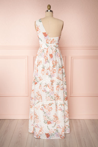 Vibrissa White Floral Lace Maxi Dress | Boutique 1861 back view