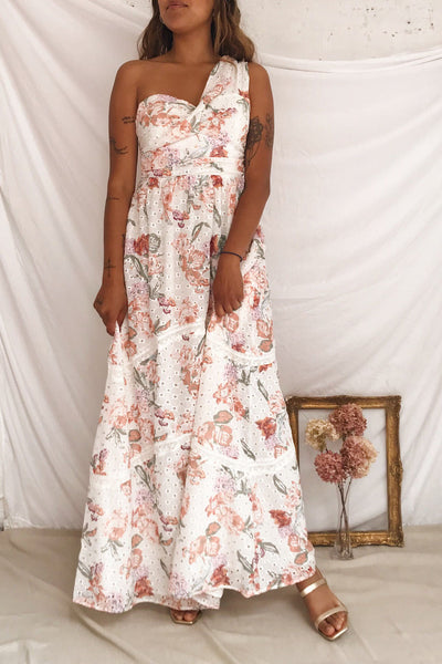 Vibrissa White Floral Lace Maxi Dress | Boutique 1861 model look