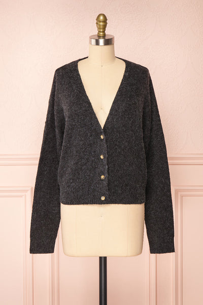 Vikep Black Knitted Button-Up Cardigan | Boutique 1861 front view