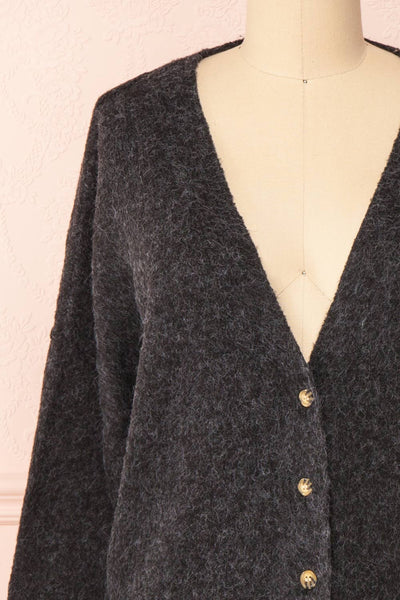 Vikep Black Knitted Button-Up Cardigan | Boutique 1861 front close-up