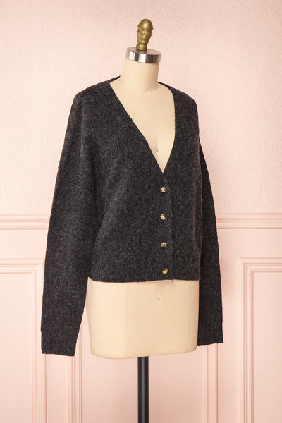 Vikep Black Knitted Button-Up Cardigan | Boutique 1861 side view