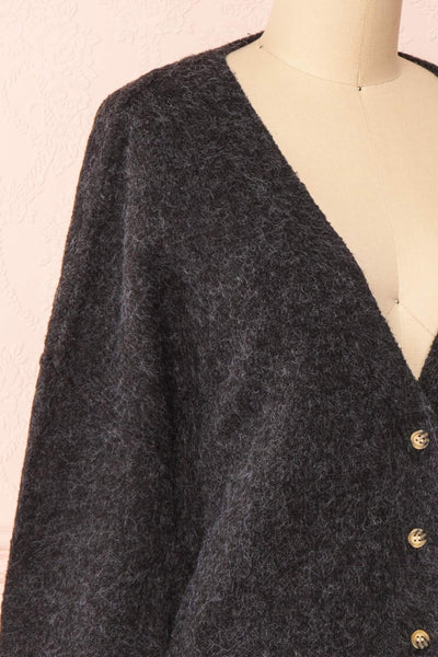 Vikep Black Knitted Button-Up Cardigan | Boutique 1861 side close-up