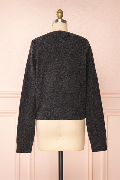Vikep Black Knitted Button-Up Cardigan | Boutique 1861 back view