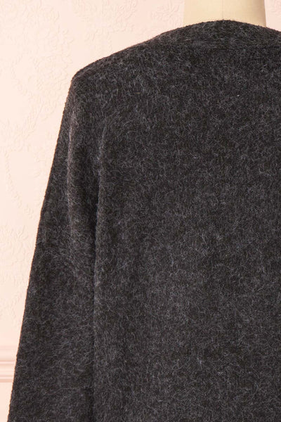 Vikep Black Knitted Button-Up Cardigan | Boutique 1861 back close-up