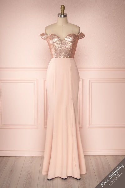 Vinhan Rose Gold Sequin Off-Shoulder Gown with Slit | Boudoir 1861