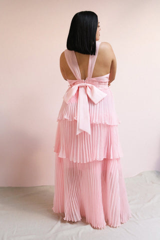 Viridiana Light Pink Pleated Maxi Prom Dress | Boutique 1861 on model