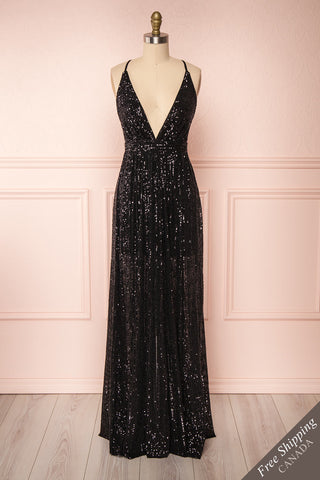 Vitaliya Black Sequin Maxi Dress front view FS | Boutique 1861