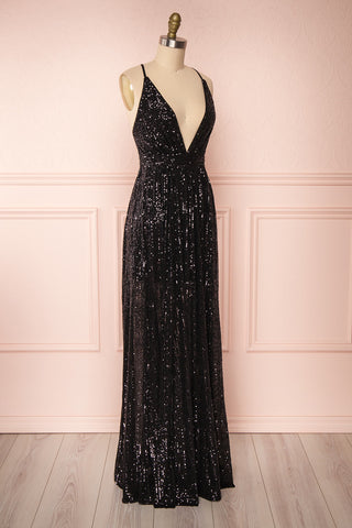 Vitaliya Black Sequin Maxi Dress side view | Boutique 1861