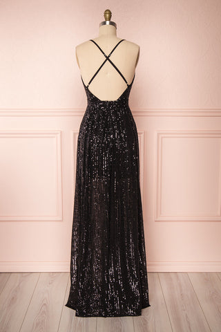 Vitaliya Black Sequin Maxi Dress back view | Boutique 1861