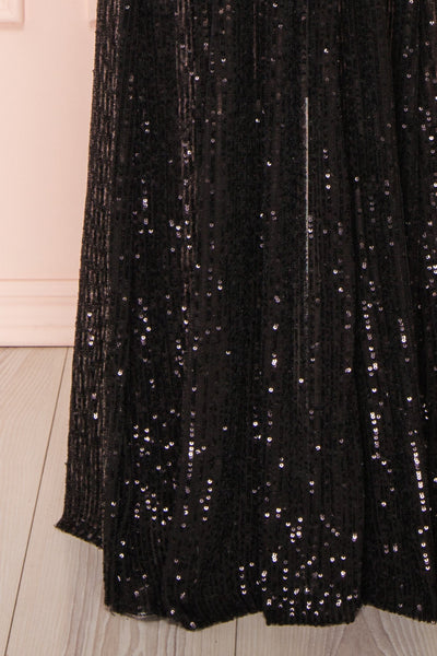 Vitaliya Black Sequin Maxi Dress skirt | Boutique 1861
