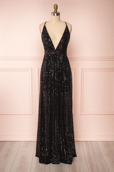 Vitaliya Black Sequin Maxi Dress | Boutique 1861