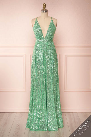 Vitaliya Mint Green Sequin Maxi Dress front view | Boutique 1861