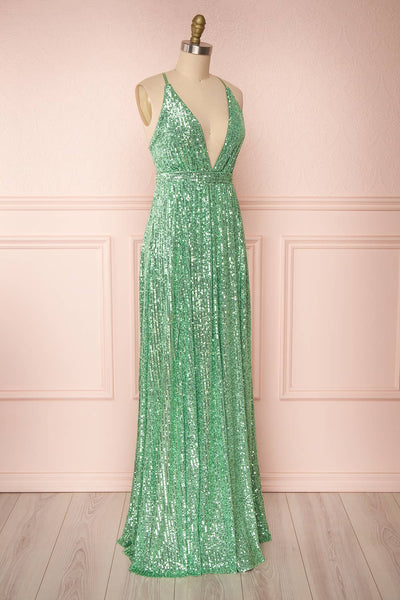Vitaliya Mint Green Sequin Maxi Dress side view | Boutique 1861