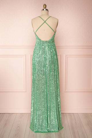 Vitaliya Mint Green Sequin Maxi Dress back view | Boutique 1861