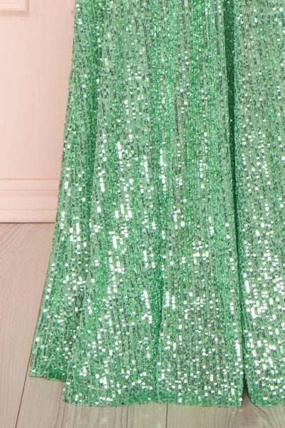 Vitaliya Mint Green Sequin Maxi Dress skirt | Boutique 1861