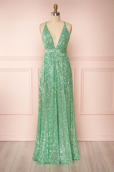 Vitaliya Mint | Green Sequin Dress
