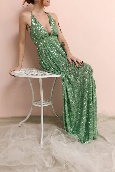 Vitaliya Mint Green Sequin Maxi Dress | Boutique 1861 on model
