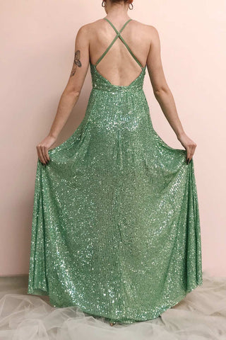 Vitaliya Mint Green Sequin Maxi Dress | Boutique 1861 model back