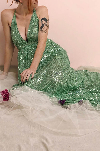 Vitaliya Mint Green Sequin Maxi Dress | Boutique 1861 model look