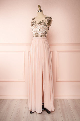 Viviette Blush Embroidered Gown | Robe Longue | Boutique 1861  side view