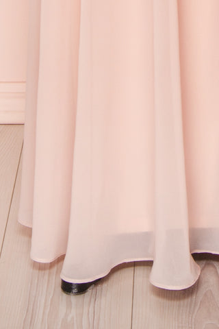 Viviette Blush Embroidered Gown | Robe Longue | Boutique 1861  bottom close-up
