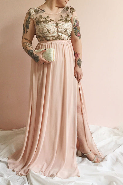 Viviette Blush Embroidered Gown | Robe Longue | Boutique 1861 on model