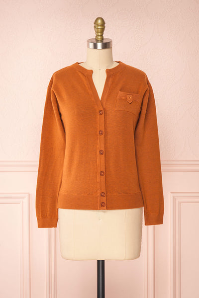 Vizela Brown Long Sleeve Button-Up Cardigan | Boutique 1861 front view