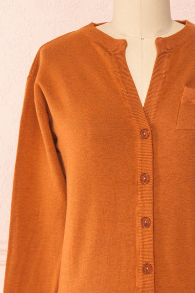 Vizela Brown Long Sleeve Button-Up Cardigan | Boutique 1861 front close-up
