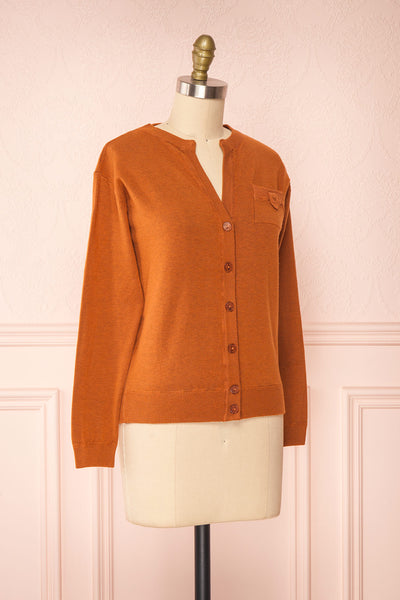 Vizela Brown Long Sleeve Button-Up Cardigan | Boutique 1861 side view