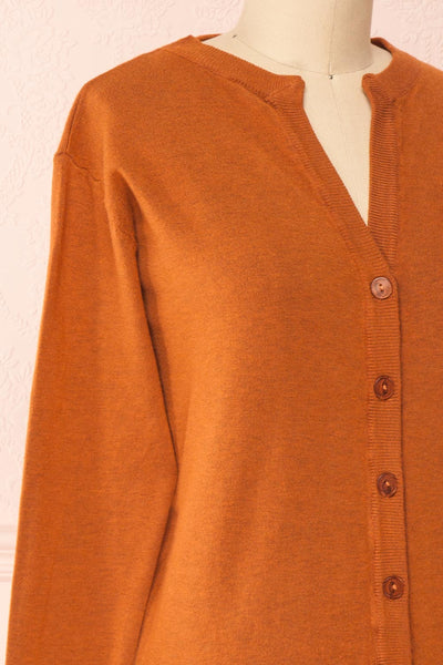 Vizela Brown Long Sleeve Button-Up Cardigan | Boutique 1861 side close-up