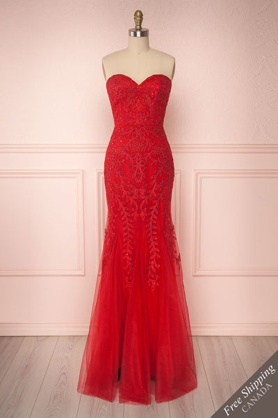 Vizma Rouge Red Tulle Mermaid Gown | Boutique 1861