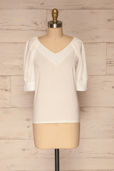Vouzela White T-Shirt w/ Puffy Sleeves | La petite garçonne front view