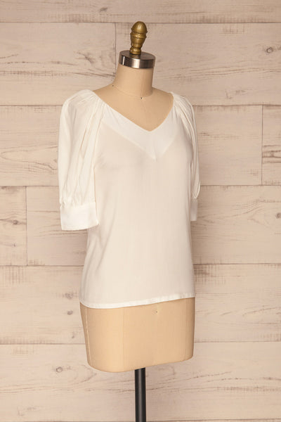 Vouzela White T-Shirt w/ Puffy Sleeves | La petite garçonne side view