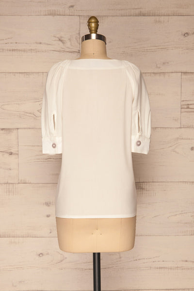 Vouzela White T-Shirt w/ Puffy Sleeves | La petite garçonne back view