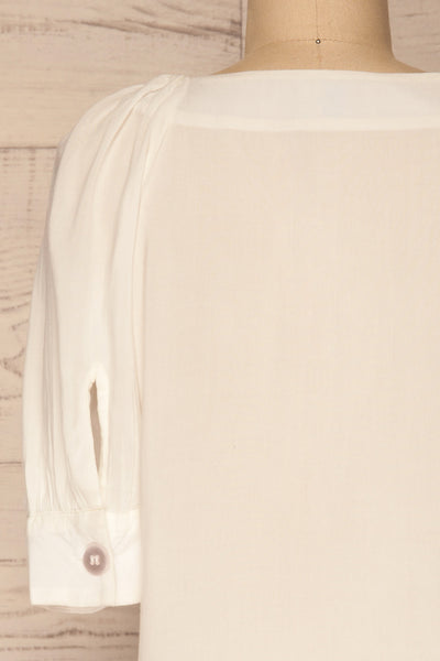 Vouzela White T-Shirt w/ Puffy Sleeves | La petite garçonne back close-up