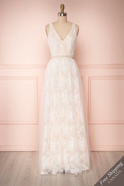 Vrissila Cream Lace A-Line Bridal Dress with Pearls | Boudoir 1861