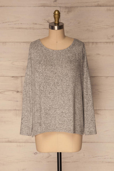 Wail Stone Gray Soft Knit Sweater Top | La Petite Garçonne 1