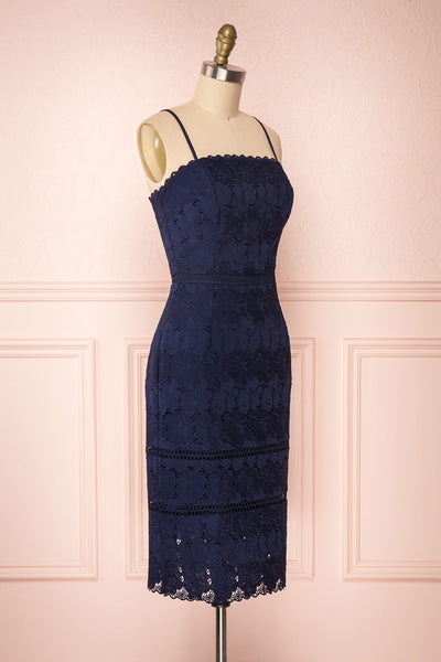 Wakanda Navy Lace Cocktail Dress | Robe en Dentelle side view | Boutique 1861