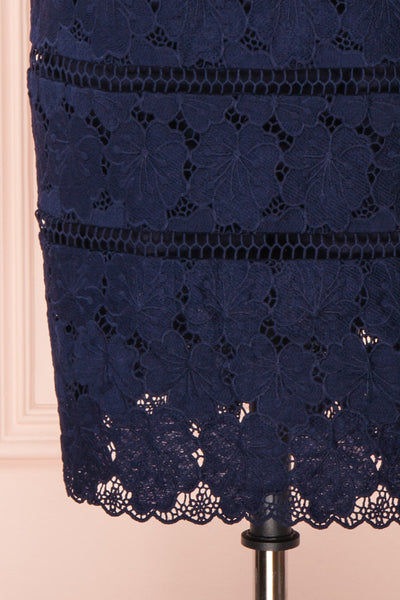 Wakanda Navy Lace Cocktail Dress | Robe en Dentelle skirt close up | Boutique 1861