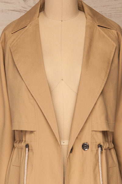 Walcourt Beige Midi Trench Coat | La petite garçonne front close-up open