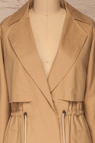 Walcourt Beige Midi Trench Coat | La petite garçonne front close-up