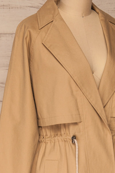 Walcourt Beige Midi Trench Coat | La petite garçonne side close-up