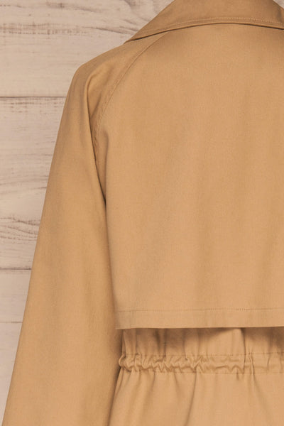Walcourt Beige Midi Trench Coat | La petite garçonne back close-up