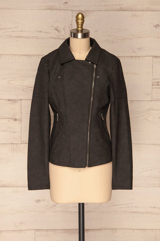 Washington Black Faux Leather Motorcycle Jacket | La Petite Garçonne 1