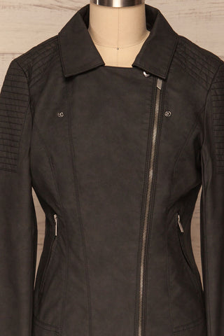 Washington Black Faux Leather Motorcycle Jacket | La Petite Garçonne 4