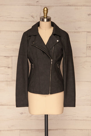 Washington Black Faux Leather Motorcycle Jacket | La Petite Garçonne 3