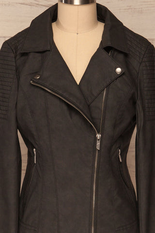 Washington Black Faux Leather Motorcycle Jacket | La Petite Garçonne 2