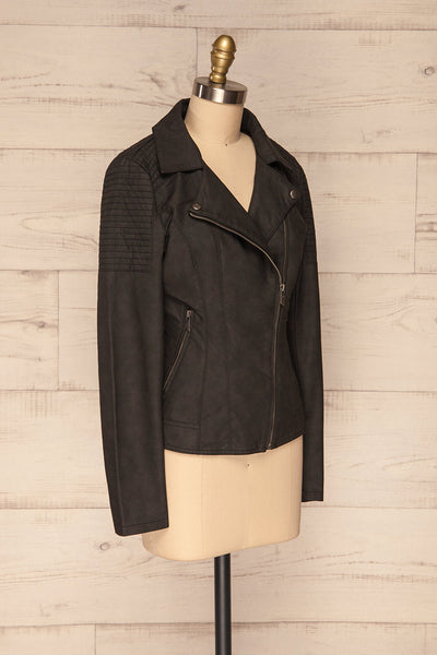 Washington Black Faux Leather Motorcycle Jacket | La Petite Garçonne 5